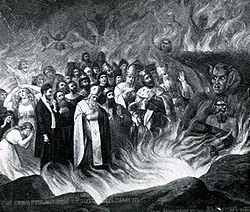 ლევ ტოლსტოი ჯოჯოხეთში – კურსკის გუბერნიის სოფელ ტაზოვას ეკლესიის კედლის მოხატულობის ფრაგმენტი. 1883წ